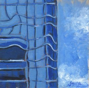 Cerulean Blue Tower by Sandra Mucha | Acrylic on Canvas | 5″ x 5″ /12.7cm x 12.7cm