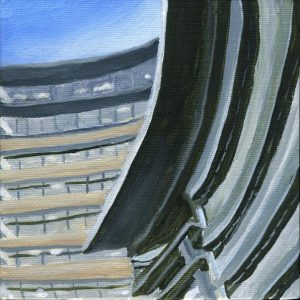 "Neutral Towers | by Sandra Mucha | Acrylic on Canvas | 5"" x 5"" /12.7cm x 12.7cm"