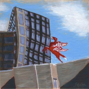 Red Pegasus and the two Towers by Sandra Mucha | Acrylic on Canvas | 5″ x 5″ /12.7cm x 12.7cm