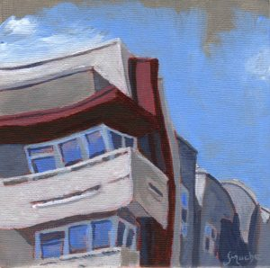 Red White and Khaki Towers by Sandra Mucha | Acrylic on Canvas | 5″ x 5″ /12.7cm x 12.7cm