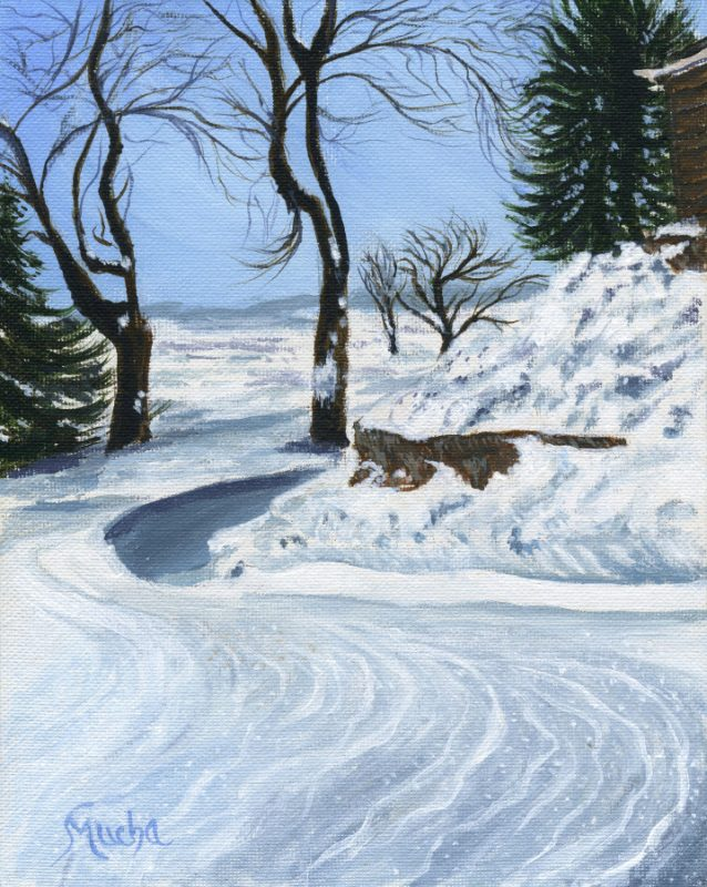 """Winding Snow with Trees"" 10""x8"" 25cmx20cm Acrylic on Canvas by Sandra Mucha"