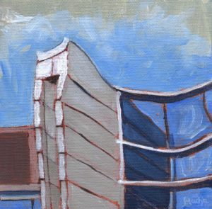 "Blue and White Tower II by Sandra Mucha | Acrylic on Canvas | 5"" x 5"" /12.7cm x 12.7cm"