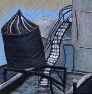 Rooftop Tower in Winter by Sandra Mucha | Acrylic on Canvas | 6″x 6″