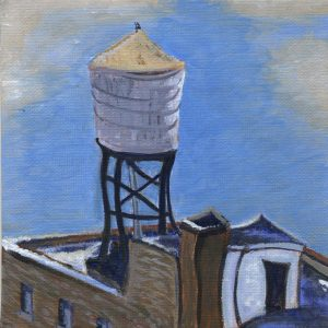 "Water Tower in Winter by Sandra Mucha | Acrylic on Canvas | 6""x 6"""