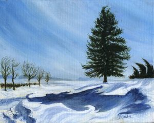 """Six more weeks""  (Ellendale,Minnesota) 8″ x 10″ / 20cm x 25cm Acrylic on Canvas by Sandra Mucha"